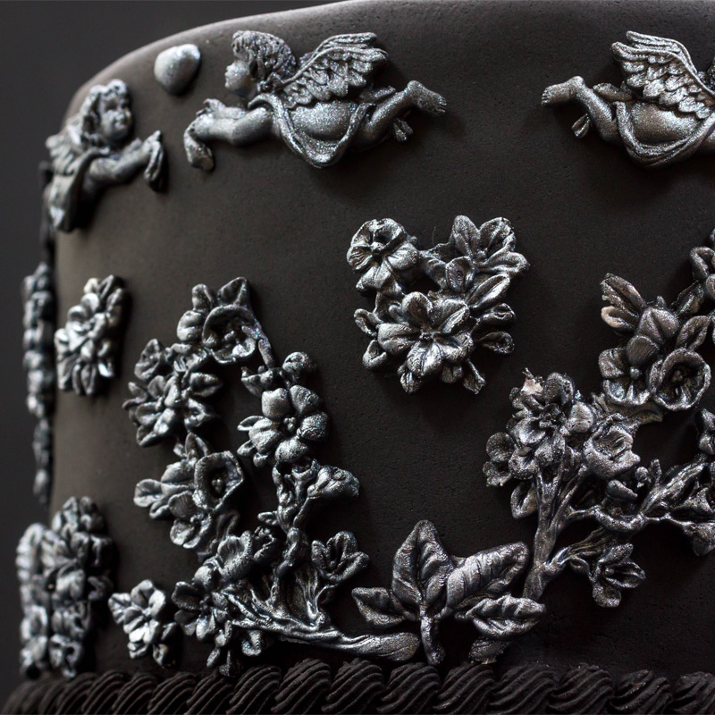 Black-and-Silver-Bas-Relief-Cake-Step-5-Blossoms