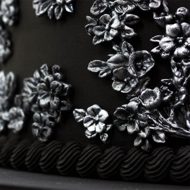 Black-and-Silver-Bas-Relief-Cake-Step-5_Cherry-Blossom